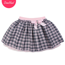2017 Fashion spring brand domeiland Kids Girls clothing Tutu plaid Skirt For Cotton Bow Children beautiful Pleated Skirt clothes