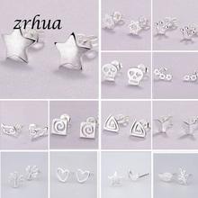 2019 Newest 925 Silver Needle Women #8217 s Jewelry Fashion Cute Chic Stud Earrings for School Girls Kids Lady Birthday Accessories cheap zrhua geometric TRENDY Metal Push-back