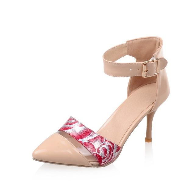 Spring/Autumn Women Shoes Pumps Pointed Toe Thin Heels Fashion Casual Party Height Heels Shallow Buckle Strap Flower