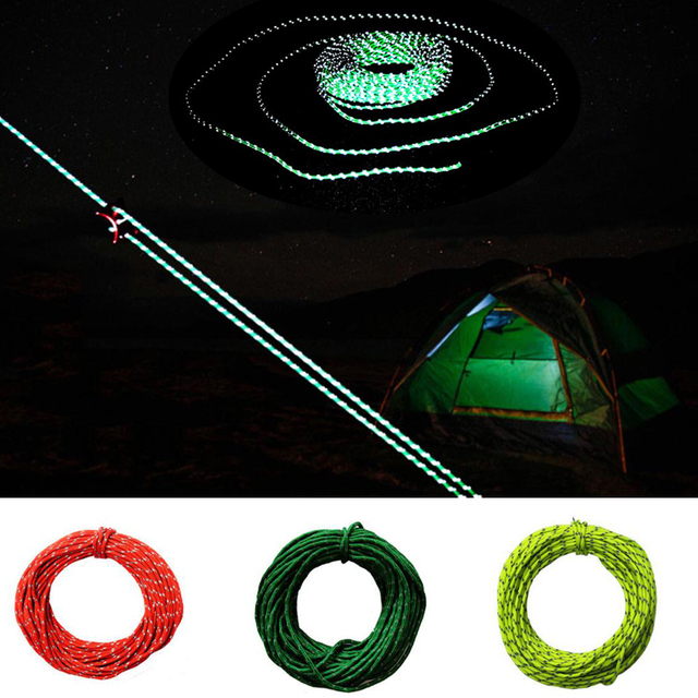 15m Luminous Outdoor C&ing Tent Awning Reflective Rope Runners Guy Reflective Line Cord Paracord Parachute 50 & 15m Luminous Outdoor Camping Tent Awning Reflective Rope Runners ...