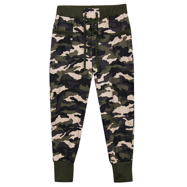 34cfbf63ee Autumn Fashion Women High Waist Camouflage Cotton Bandage Pant Elastic Slim  Army Green Trousers Full Pants Clothing Wear New