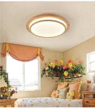 Japan Delicate round solid Wooden Frame led ceiling lights luminarias para sala dining room bedroom kitchen ceiling light