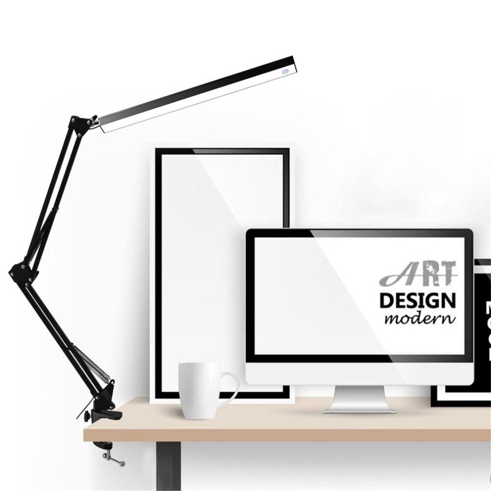 Lâmpada de mesa led liga de alumínio dobrável clip-on usb lâmpada de mesa led braço longo controle de toque regulável lâmpada de mesa eyefree expedição