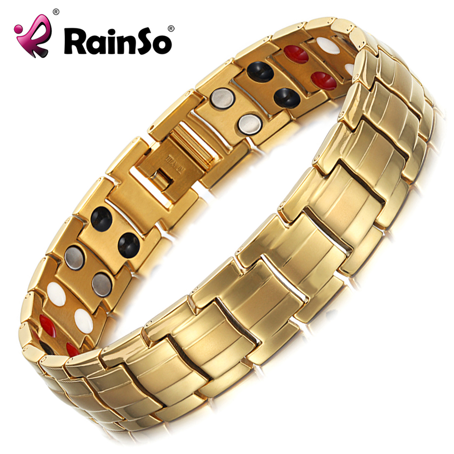 Rainso Bracelets Bangles Men Magnetic Therapy Germanium Male Wristband Health Hologram Bracelets Dropshipping wholesale OTB-1537