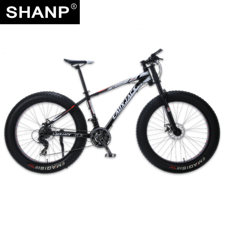 LAUXJACK Mountain Bike Aluminum Frame 24 Speed Shimano Mechanical Brake Fat Bike 26x4.0 Wheel  Long Bicycle Fork lauxjack mountain fat bike steel frame
