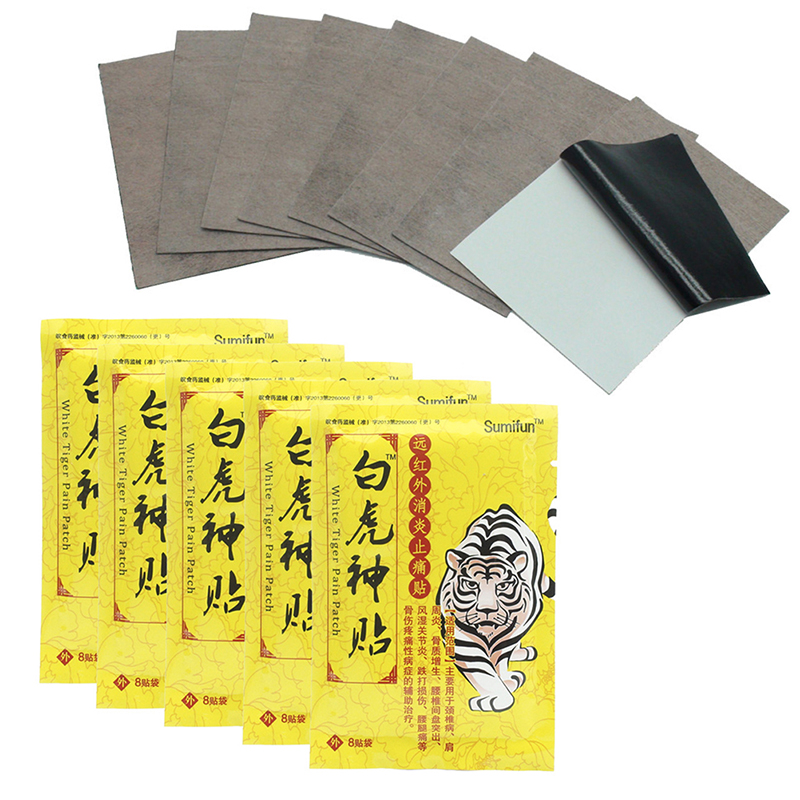 JETTING Hot Sale 8Pcs White Tiger Chinese Traditional Arthritis Pain Relief Cervical Acupuncture Infrared Heating Massager Patch