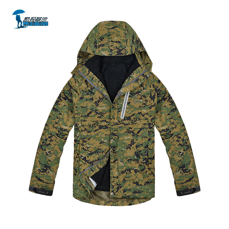 Здесь продается  Protective 2016 New Two Piece Suit Camouflage Hiking Softshell Jacket Men Outdoor Camping windstopper Jacket+Thick Fleece Liner  Спорт и развлечения