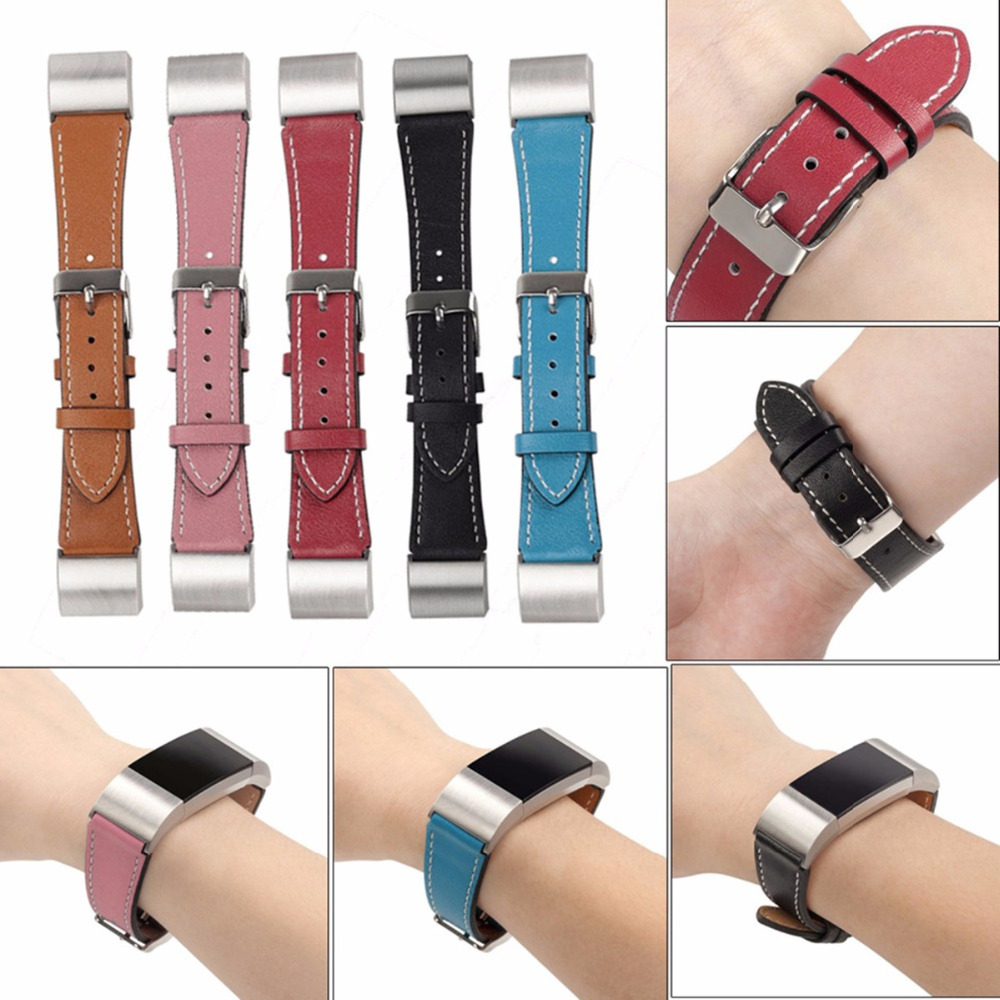 LNOP band for fitbit charge 2 band strap leather strap bracelet for fitbit charge 2 strap with metal Stainless steel adaptor