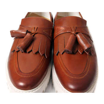Brand New Retro Mens Genuine Leather Round Toe Tassel Shoes Business Man Fringe Thick Heel Oxfords Heighten Shoes