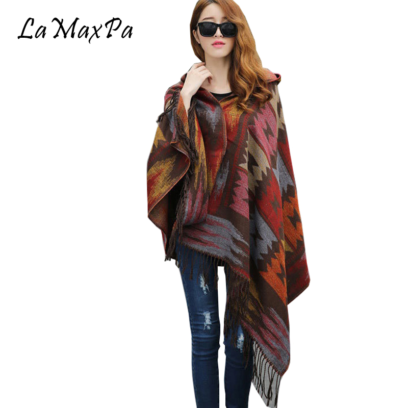 LaMaxPa Fashion Women Bohemia Hooded Coat Cape Poncho Shawl Scarf Tribal Fringe Hoodie Femme Retro Cape Mujer Elegante Capa