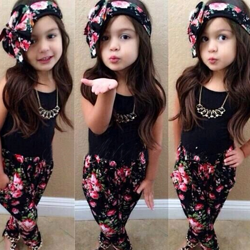 Girls Fashion floral casual suit children clothing set sleeveless outfit +headband 2021 summer new kids clothes set 4