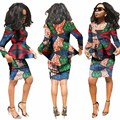 Pretty Women Suits New Fashion African  Printed Wax 2 Piece Set Women Crop Top And Skirt Set Fascinating dashiki sets WY812