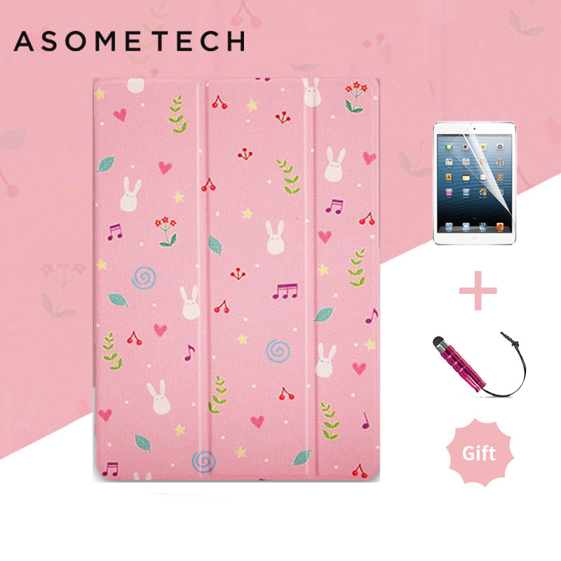 Cartoon Romantic Pink Rabbit Case For Ipad 2018 9.7 Air 1 2 Leather Fundas For Ipad 2 Mini 1 2 3 Lovely Smart Stand Cover Cases