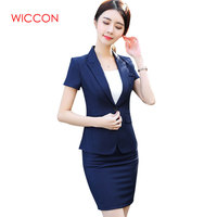 New Fashion Women Skirt Suit Two Piece Set Short Sleeve Top And Skirt For Summer Office Ladies Uniform Work Wear