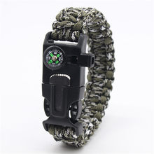 Military Emergency Paracord Bracelet Outdoor Tools Survival Parachute Bracelet Compass Scraper Whistle But No Magnesium Flint(China)