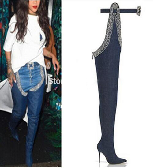 Unique Beading Belted Thigh High Boots Sexy Stiletto Heel Pointy Boots