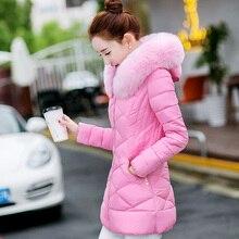 2016 женщин Пуховик Женщин Зимнее Пальто Меха С Капюшоном Тонкий длинные Куртка Мода И Пиджаки Зимние Куртки женщин Талия была тонкой пальто