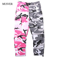 MUSVER Two Tone Camo Pants Mens 2018 Casual Cotton Hip Hop Patchwork Camouflage Military Cargo Trouser