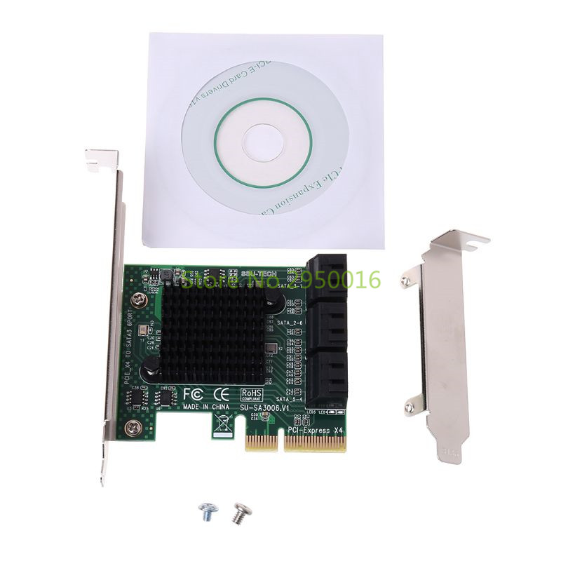PCI e PCI Express to SATA 3.0 III 3 SSD PCIe 8 Ports Expansion Board Card Adapter Raiser Low Profile Bracket C26