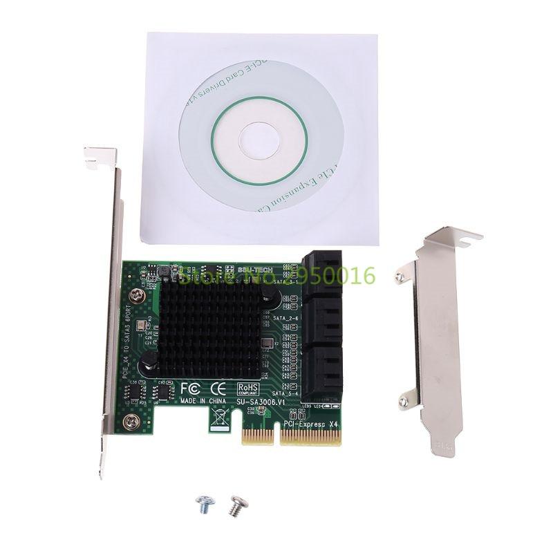 PCI-e PCI Express vers SATA 3.0 III 3 SSD PCIe 8 Ports carte d'extension adaptateur de carte support de profil bas C26