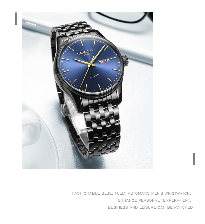 Carnaval Homens Automáticos Assistir Ultra Fino Breve Data Dia 25 jóias de Luxo Relógio Mecânico Presente - 5