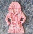 Primavera Outono Bebê Coral Macio do Velo Roupão meninas olá kitty Sleepwear Robe 4-10 T Crianças