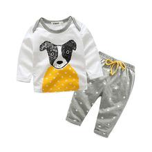 Letnie zestawy ubranek dla niemowląt Kimocat 2 szt Odzież dla niemowląt zestaw ubrań dla niemowląt bawełna chłopiec pies wzór w lisa z długim rękawem t-shirty + spodnie tanie tanio Dziecko O-neck Unisex Swetry Na co dzień Pasuje prawda na wymiar weź swój normalny rozmiar BOY SETS Suknem Zwierząt