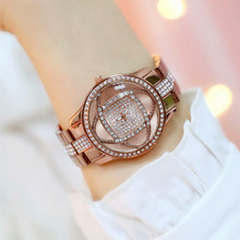 Best Selling Digital-free Rhinestone Dial with Metal Strap Brown Flower Female Watch Fashion Casual Chronograph canvas strap watch with flower face
