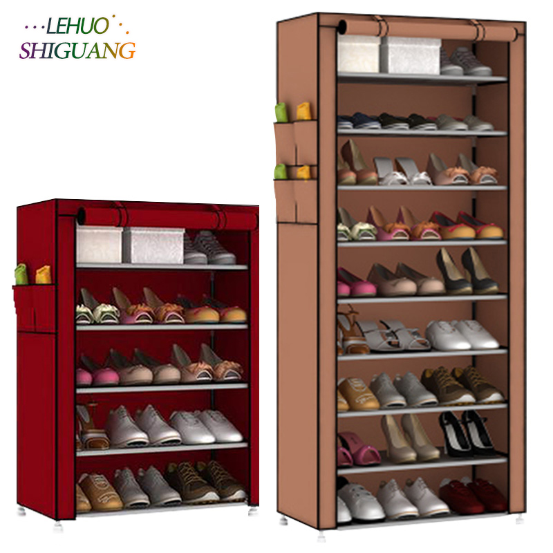 Single row Shoe cabinet Non-woven fabrics large shoe rack organizer removable shoe storage living room Entrance furniture single row 9 grid shoe rack non woven fabric organizer storage cabinet assembly shelf shoe cabinet home living room furniture