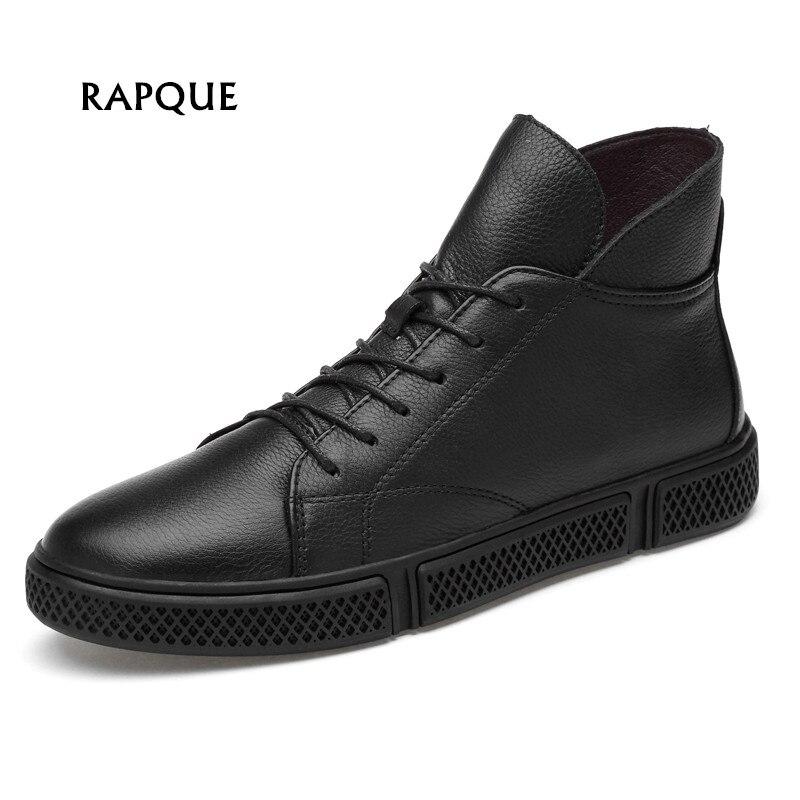 Luxury soft genuine leather men s shoes black top quality mens shoes winter keep warm Plus