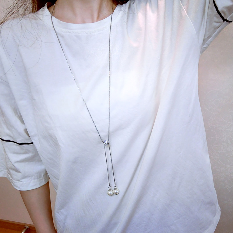 Simple Geometric Rhinestone Choker New Fashion Pearl tassel Long Pendant Temperament Sweather Necklace Girl Generous Chain colar