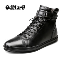 ODMOPR Men Black Leather Boots Winter Fur Warm Shoes Big Size 48 Botas Solid Ankle Booties