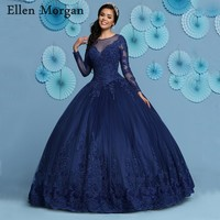 Navy Blue Ball Gowns Quinceanera Dresses 2019 Long Sleeves V Neck Floor Length Appliques Lace Sweet 15 16 Prom Gowns