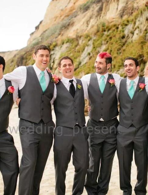 Charcoal Grey Wedding Vest and Pants For Men Slim Fit Mens Wedding ...