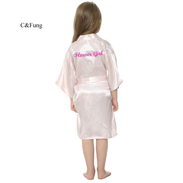 Robe Writing Flower-Girl Birthday Wedding Kids' C with Hot Pink Bride Daughter-Robes