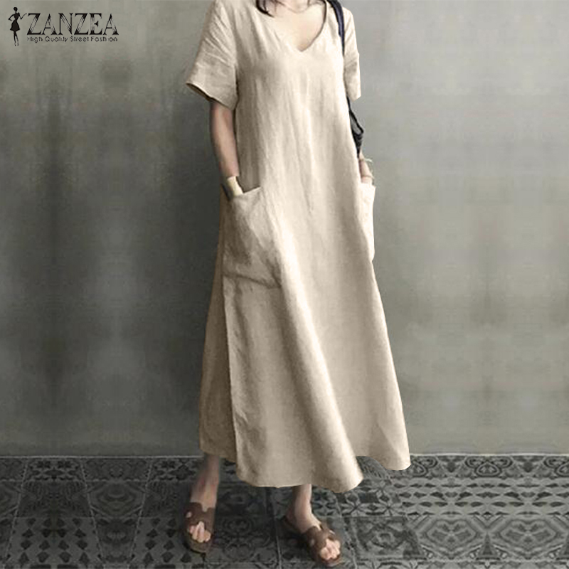 Plus Size Shirt Dress Women's Summer Sundress 2019 ZANZEA Vintage Casual Linen Midi Dress Tunic Vestidos V Neck Solid Robe Femme