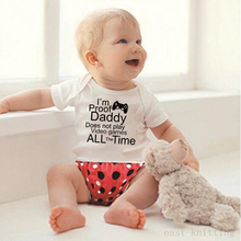 Funny letter print daddy play games Newborn baby boys letters Romper