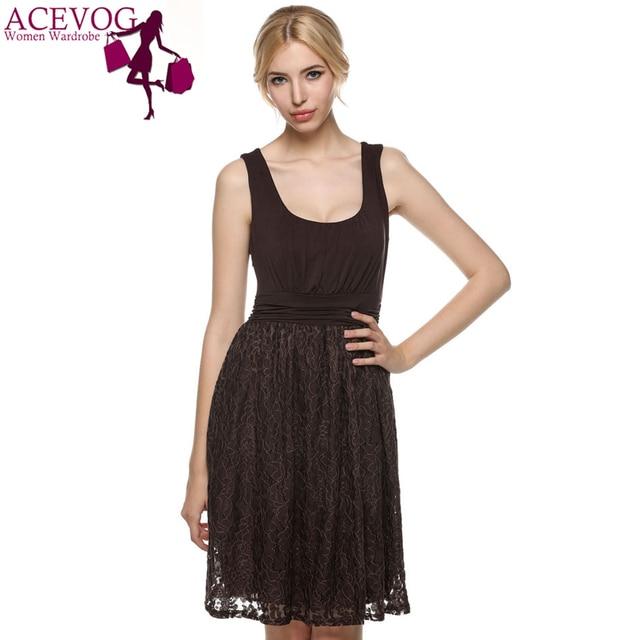 b06ac98ec036d ACEVOG Kadın Yuvarlak Boyun Kolsuz Dantel Ekleme Mini Elbise Rahat Plaj Kısa  Dantel Elbise Parti Elbiseler