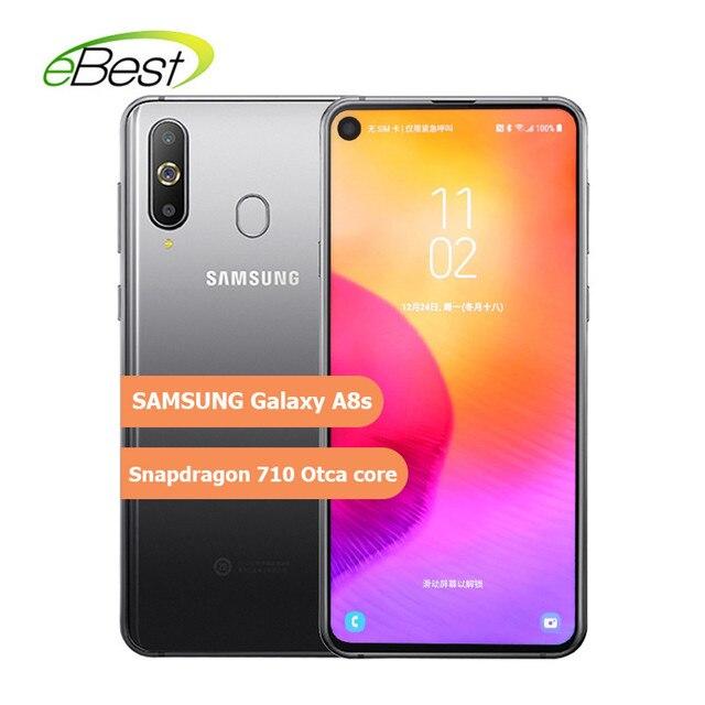 Samsung Galaxy A8s Smartphone 6.4 Inch FHD Three Rear Cameras 3400mAh Snapdragon 710 Otca core 6/8GB 128GB NFC Android Cellphone