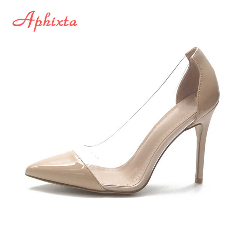 df99c930db8 Aphixta Women Pumps Casual Office Lady Shoes Clear Transparent Pointed Toe  9cm Thin Heel Party Shoes