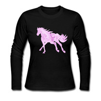 Horse T Shirt Women 2017 New Fashion Clothes Colorful Long Sleeve Camisetas Casual Cotton Tops For