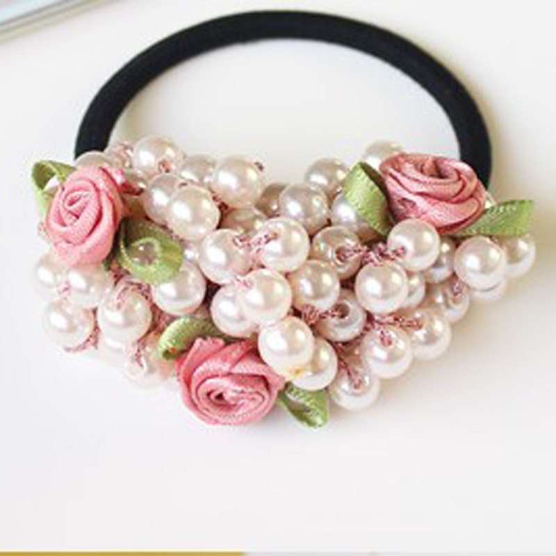 2pcs Fashion Women Hair Accessories Semi-circle Pearls Beads Flower Headbands Gum for Hair Scrunchie Ponytail Hair Elastic Bands