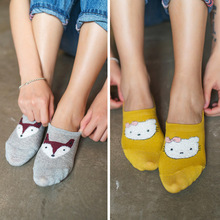 New Short Women Invisible Summer Sox Female Stealth Socks Cotton Cartoon Female Shallow Mouth Totoro Plush Funny Socks Slippers