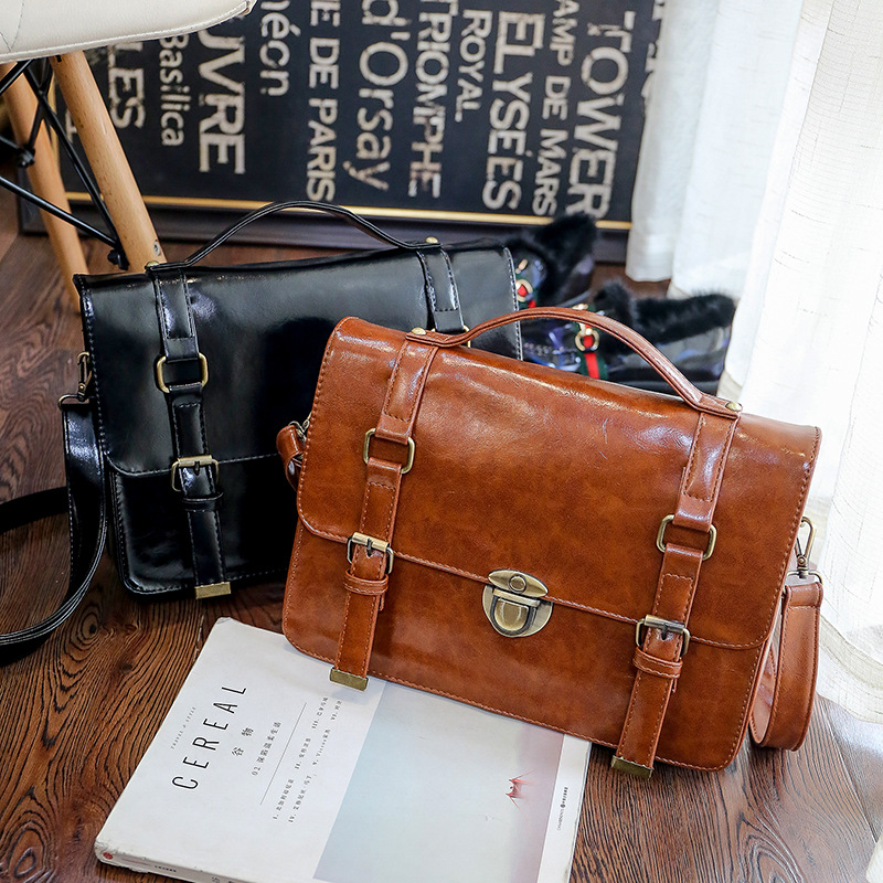 Steampunk british women bags Steam Punk Retro Handbags lady shoulder bag working briefcase pure color punk style pure color hollow out ring for women