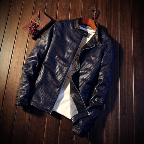 Spring Mens Casual Leather Jacket Slim Stand Collar Mens Locomotive Stitching Leather Coat Casual Autumn Overcoat Masculino Yet Not Vulgar Men's Clothing Jackets & Coats