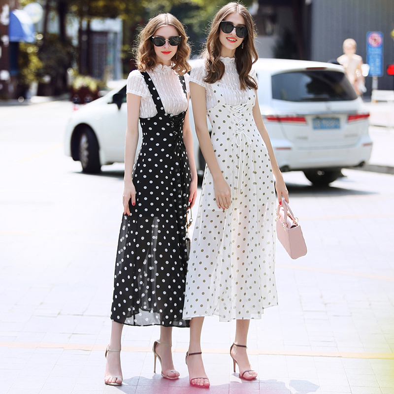 two piece suit Women Skirt Sets clothing sets women 2019 two piece white lace shirt + polka dot chiffon braces skirt suits