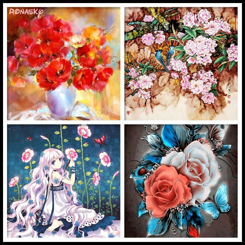 DIY Diamond Painting Cross Stitch Needlework Diamond Mosaic Diamond Embroidery Flowers Rose Crafts christmas R3529