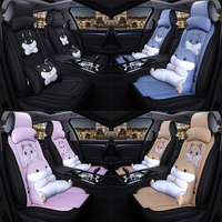 cartoon car seat cover cute hamster seats cushion set flax fabrics cloth auto seat covers universal four seasons car accessories