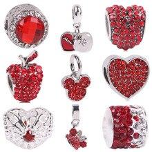 Фотография AIFEILI Silver Color Heart Shape Charm Red Beads Fit Pandora Charm Bracelet DIY Original Silver DIY Love Women Jewelry