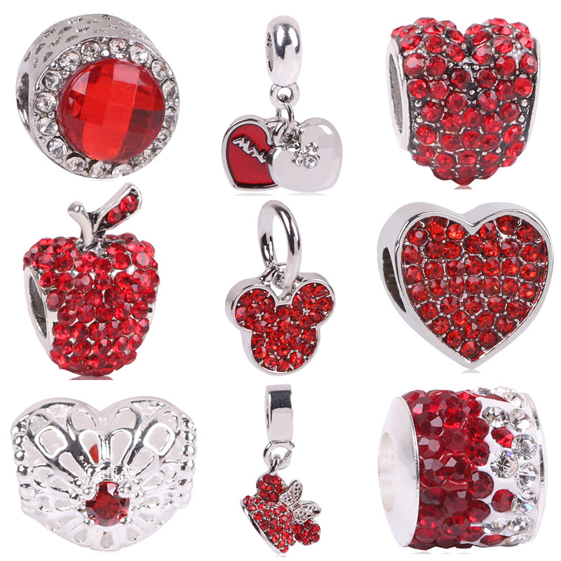 AIFEILI Silver Color Heart Shape Charm Red Beads Fit Pandora Charm Bracelet DIY Original Silver DIY Love Women Jewelry